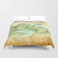 neverland Duvet Covers featuring Neverland Map by Mercedes Jennings