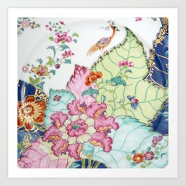 Damask antique floral porcelain china chinoiserie plate of flowers and crane bird vintage photo Kunstdrucke