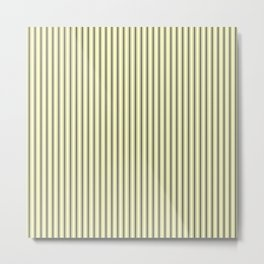 Mattress Ticking Narrow Striped Pattern in Dark Black and Cream Metal Print