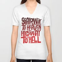 acdc V-neck T-shirts featuring HEAVEN AND HELL by All Kings