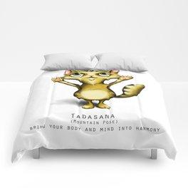 yoga cat tadasana Comforters