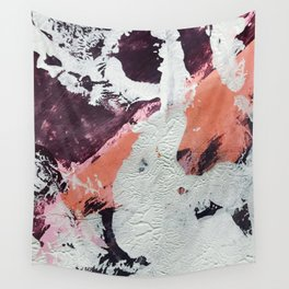 Taboo: a vibrant, abstract, mixed-media piece in purple, orange, and light blue Wall Tapestry