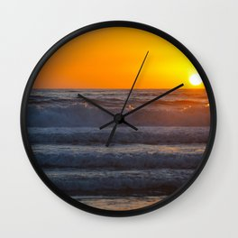 sunset waves Wall Clock