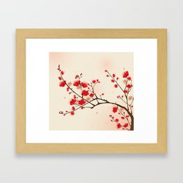 Oriental plum blossom in spring 009 Framed Art Print
