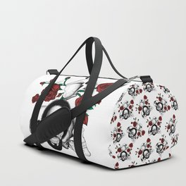 Grunge skulls and red roses (afro skull included. Color version) Duffle Bag