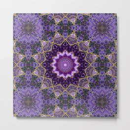 Amethyst and Gold Kaleidoscope  Mandala Metal Print
