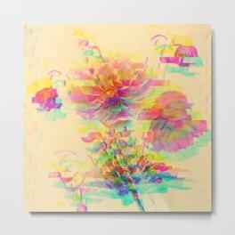 Botanical Flower Glitch Metal Print