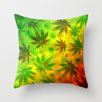 marijuana Throw Pillows featuring Marijuana Leaves Rasta Colors by BluedarkArt