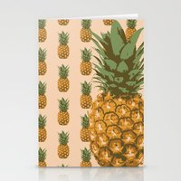 pineapples Stationery Cards featuring Pineapples by brocoli art print