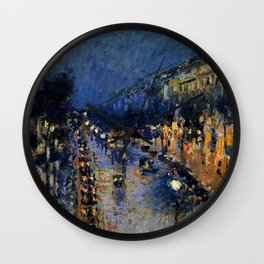 Boulevard Montmartre at Night by Camille Pissarro Wall Clock