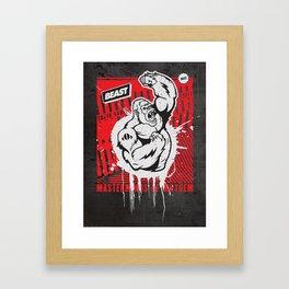 Mayhem Ape (Black on Red) Framed Art Print