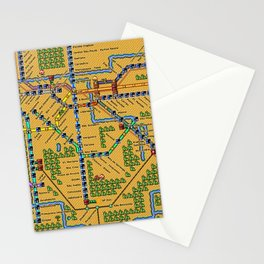 São Paulo City Metropolitan Transportation Map  Stationery Cards