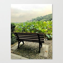 Seat by the lake and lotus Canvas Print