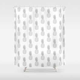 Light Grey Pineapple Shower Curtain