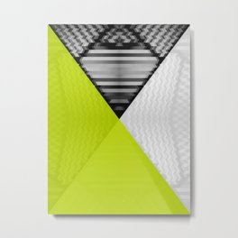 Black White and Bright Yellow Metal Print