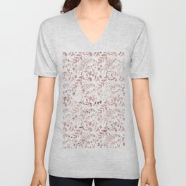 Elegant modern faux rose gold tropical leaves floral Unisex V-Neck
