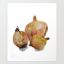 Know your onions watercolour painting Art Print