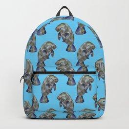Blue Watercolor Manatee Pattern Backpack