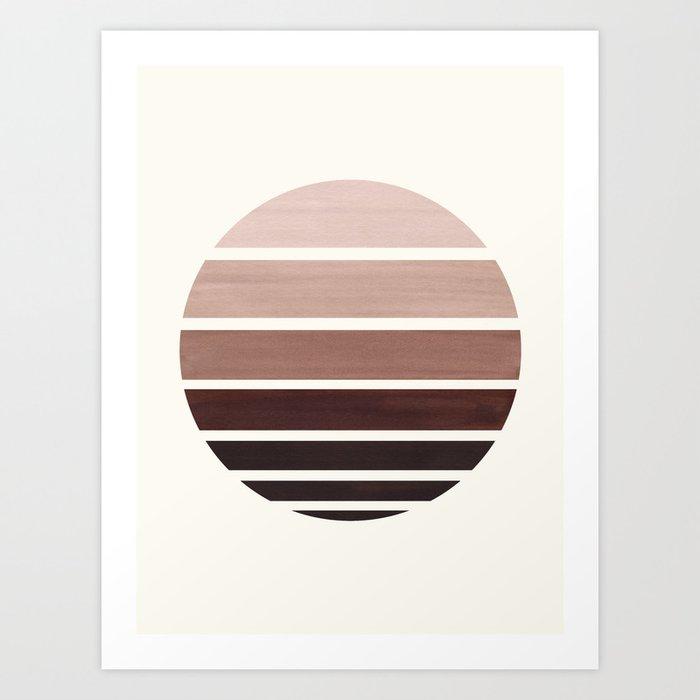 9b3e6d0992d32 Raw Umber Mid Century Modern Minimalist Circle Round Photo Staggered Sunset  Geometric Stripe Design Art Print by enshape