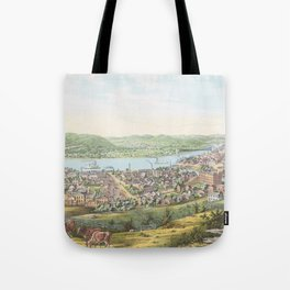 Vintage Pictorial Map of Wheeling WV (1854) Tote Bag