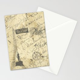 Parisian French Script Stationery Cards