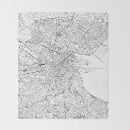 Dublin White Map Throw Blanket
