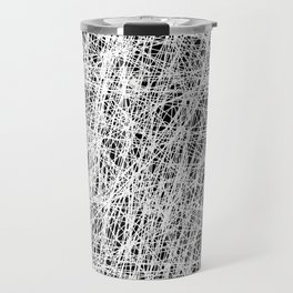 Web Of Confusion - Black and white, abstract painting Travel Mug