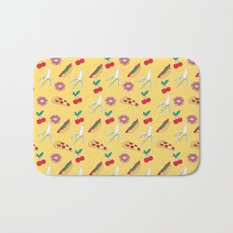 Modern yellow red fruit pizza sweet donuts food pattern Bath Mat