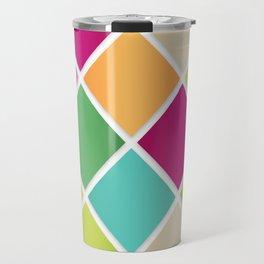 Modern Diamond Geometric Pattern Design // Pink Orange Green Blue Travel Mug