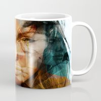 angelina jolie Mugs featuring faces of Angelina Jolie by Karma (Bhutangirl)