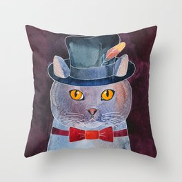 Lilac Cat In The Hat Throw Pillow