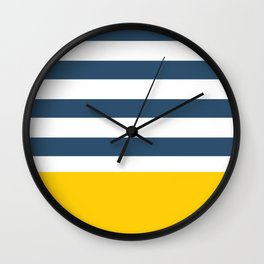 Navy and yellow stripes Wall Clock