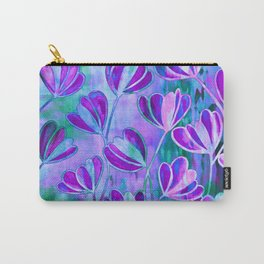 EFFLORESCENCE Lavender Purple Blue Colorful Floral Watercolor Painting Summer Garden Flowers Pattern Carry-All Pouch