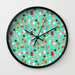 Christmas Sweeties Candies, Peppermints, Candy Canes and Chocolates on Aqua Wall Clock