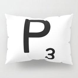 Letter P - Custom Scrabble Letter Tile Art - Scrabble P Initial Pillow Sham