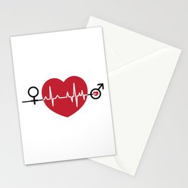 Love hearts EKG Stationery Cards