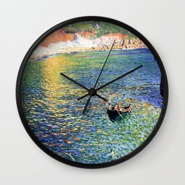 Seacoast Harbor Scene, Young Children swimming with boat landscape painting by Laura Knight Wall Clock