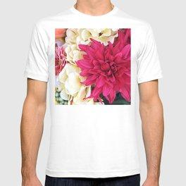 Vibrant Pink-Magenta & Chic Ivory Silk Flowers T-shirt