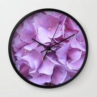 hydrangea Wall Clocks featuring Hydrangea by lillianhibiscus