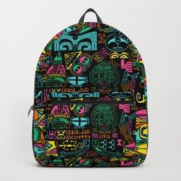 tropical island tattoo on black Backpack