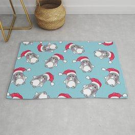 Cute Christmas Winter Penguin Watercolor Santa Hat Rug