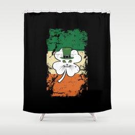 Irish Flag St Patrick Leprechaun Cat Shower Curtain