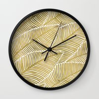 tropical Wall Clocks featuring Tropical Gold by Cat Coquillette