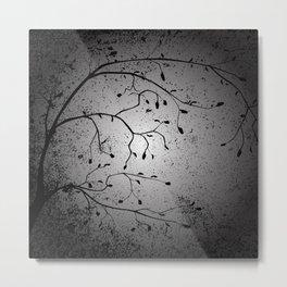 Dark Branch With Leaves Metal Print