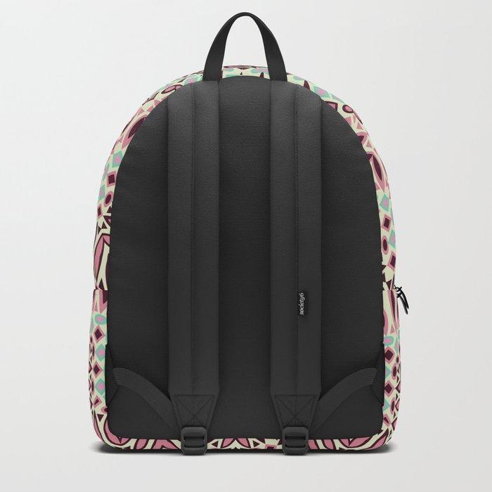 Mandala Retro .grey ,beige . Backpack