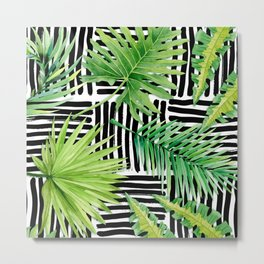 Tropical Leaves Watercolor on Black and White Pattern Metal Print
