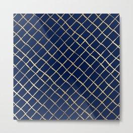 Elegant  abstract geometrical navy blue gold pattern Metal Print