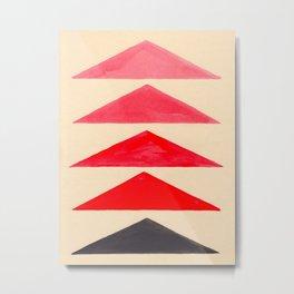 Vintage Scandinavian Red Geometric Triangle Pattern Metal Print