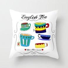 English Tea Cups Throw Pillow