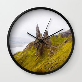 Icelandic Grassland Landscape Pointy Mountains Rocks Wall Clock